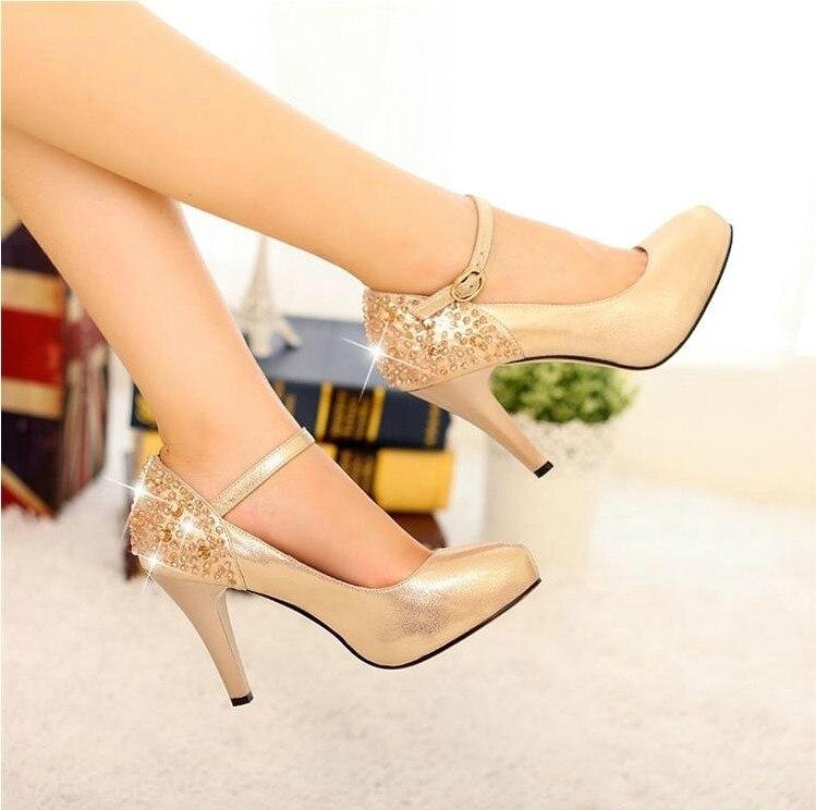 bfd5b2e9 Lady Sexy Okrągły Toe Złoty i Czarny Kobieta Eleganckie Szpilki Pasy  Pojedyncze Buty Rhinestone buty Ślubne Buty Firm