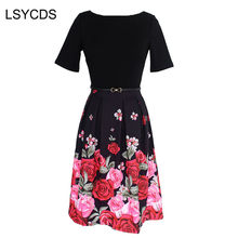 2018 Autumn Women Elegant Dress O Neck Short Sleeve Rose Flower Print Big  Swing 50s 60s Vintage Dress Plus Size 3XL with Sashes 98692fd90828