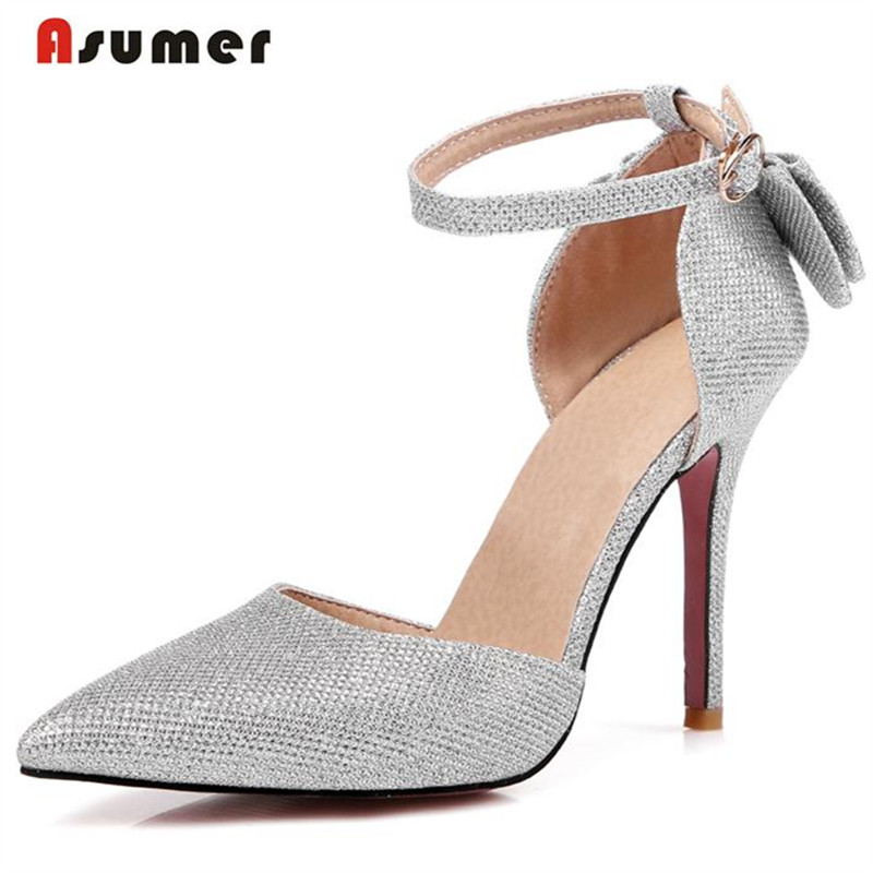 Asumer Large size 31-47 thin high heels shoes buckle pointed toe elegant fashion wedding shoes women pumps summer solid рюрик полет сокола