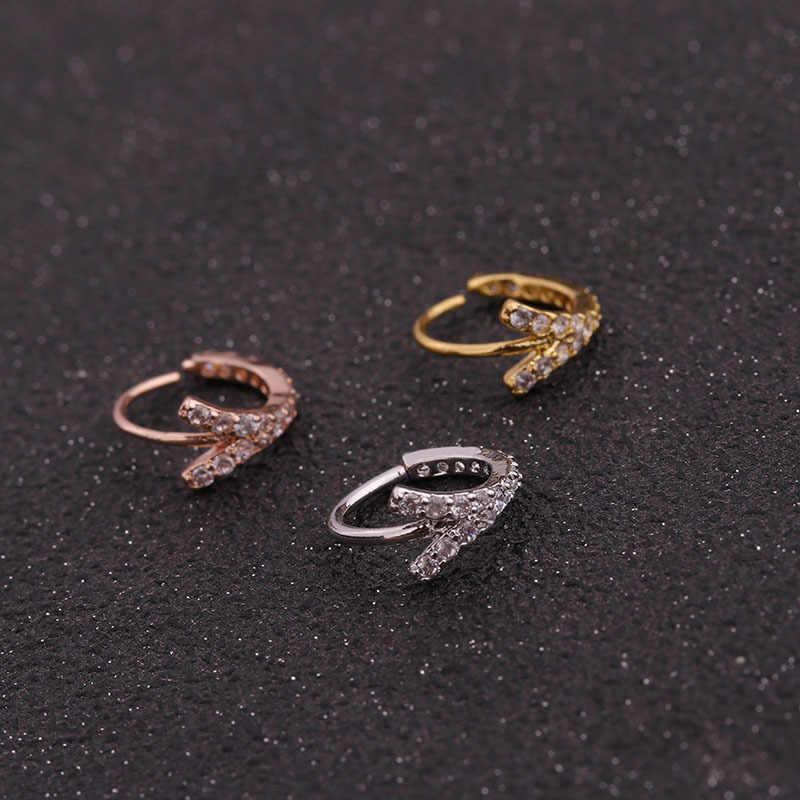 ROXI 1 шт. из нержавеющей стали CZ кольца для носа кольцо для женщин и мужчин ювелирные украшения для пирсинга клип подарок бесшовные Nostril кольцо для губ сережки