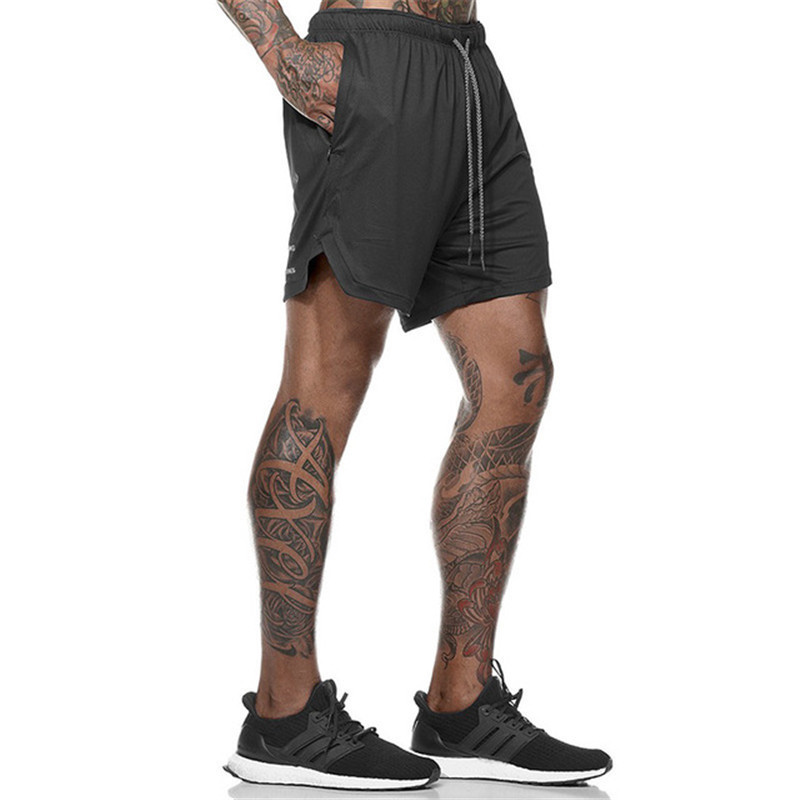 Men's 2 In 1 Security Shorts Men's Leisure Shorts Quick-Drying Cool Gym Shorts With Built-In Pockets Hips Hiden Zipper Pockets