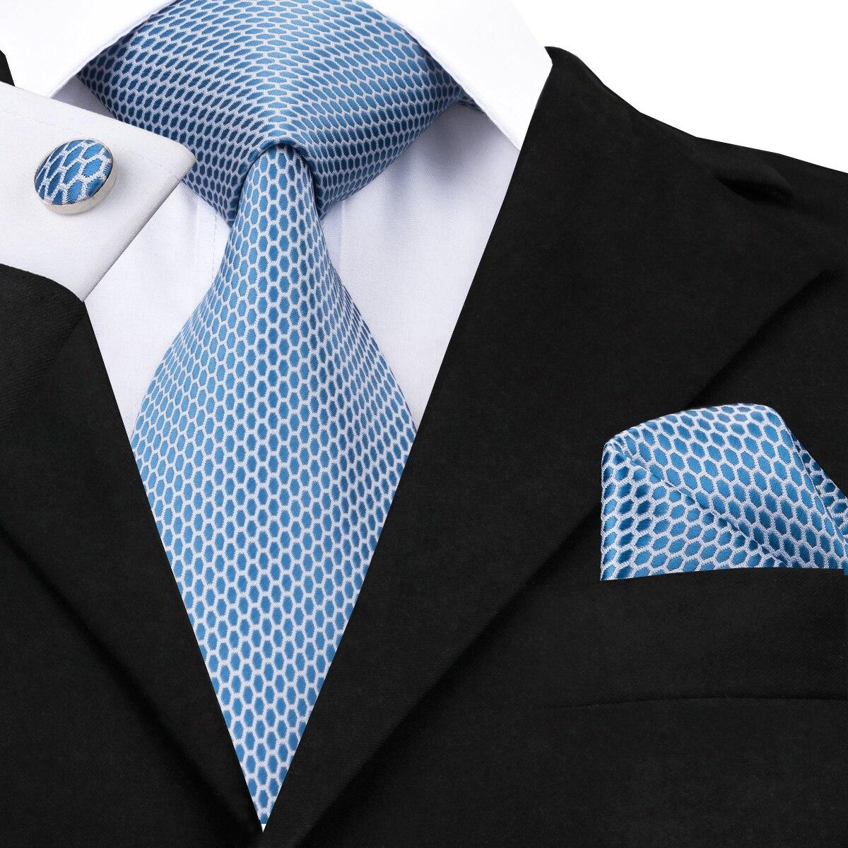 Hi-Tie Light Blue Fashion Polka Dot Ties Set For Men Silk Classic Men's Necktie Pocket Square Cufflinks Set Mens Ties  C-1535