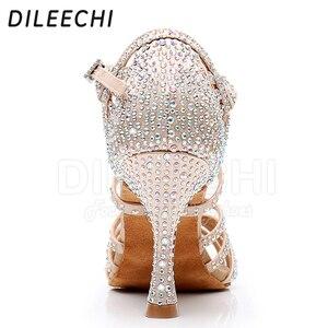 Image 2 - Женские туфли для латиноамериканских танцев DILEECHI, черные атласные туфли с блестящими бронзовыми стразами, вечерние бальные туфли для сальсы, каблук 9 см