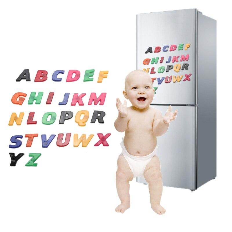 26 Stks/set Kid Educatief Toy Kleurrijke Abc Alfabet Magneet Koelkast Sticker Plastic Vroeg Leren Speelgoed Voor Kinderen Baby Modern Ontwerp