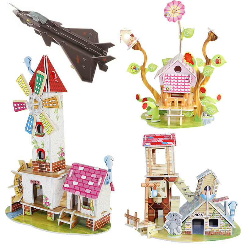 3D DIY Puzzle Jigsaw Model Castle House Aircraft Tank Paper Froth Assembly Toys For Kids Develop Learning Educational Ability