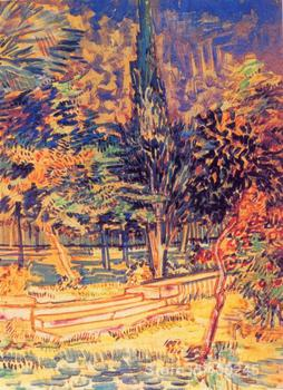 Impressionist art Stone Steps in the Garden of the Asylum Vincent Van Gogh paintings home decor Handmade High quality