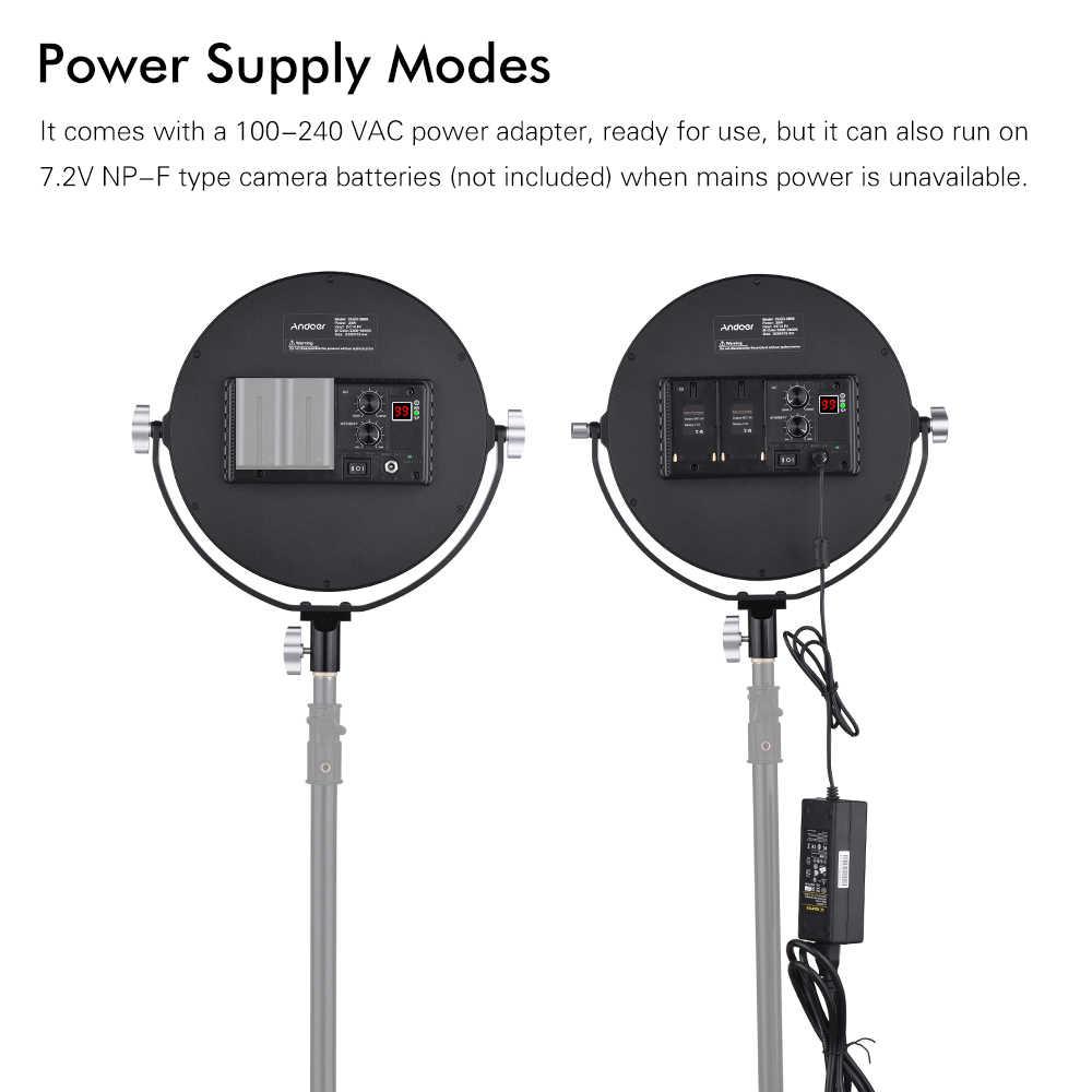 Andoer OLED-260S 3200K-5600K Bi-Color Temperature Dimmable LED Video Light Fill Light CRI 95+ 30W Output Adjustable Brightness