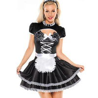 2015 Newest Coquette Masquerade Women's Flirty French Maid Costume Halloween Costumes For Women Free Shipping