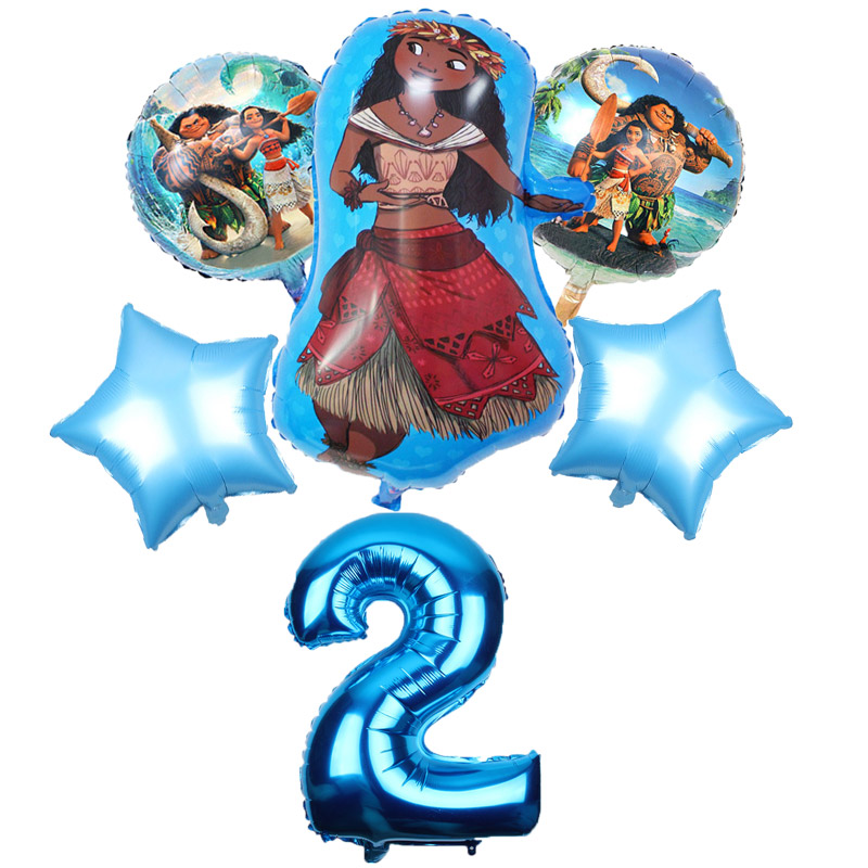 Image 3 - 5 pcs/lot Moana balloons 32 inch Number moana party supplies moana theme birthday party decoration kids toys globo girls gifts-in Ballons & Accessories from Home & Garden