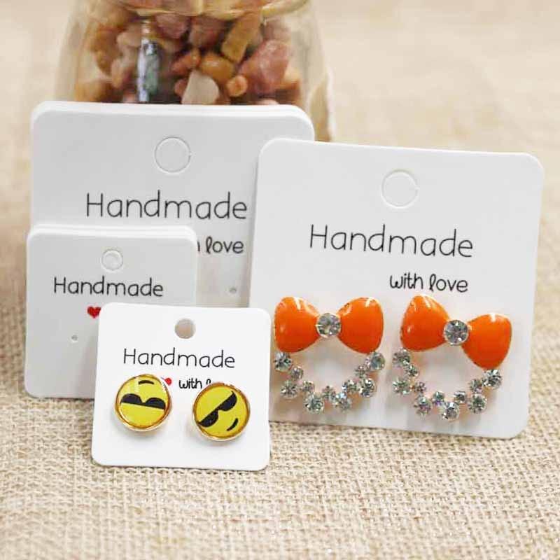 Various Design DIY Handmade With Love  Jewelry Earring Packing Card Cute Stud/drop Earring Display Card 100pcs Per Lot