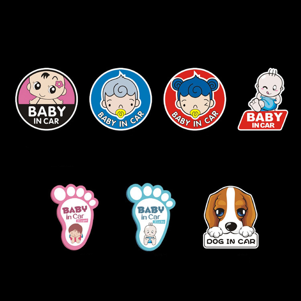 Smart car sticker designs - Baby Dog In Car Sticker Funny Reflective Warning Decal For Ford Focus 2 Fiesta Smart