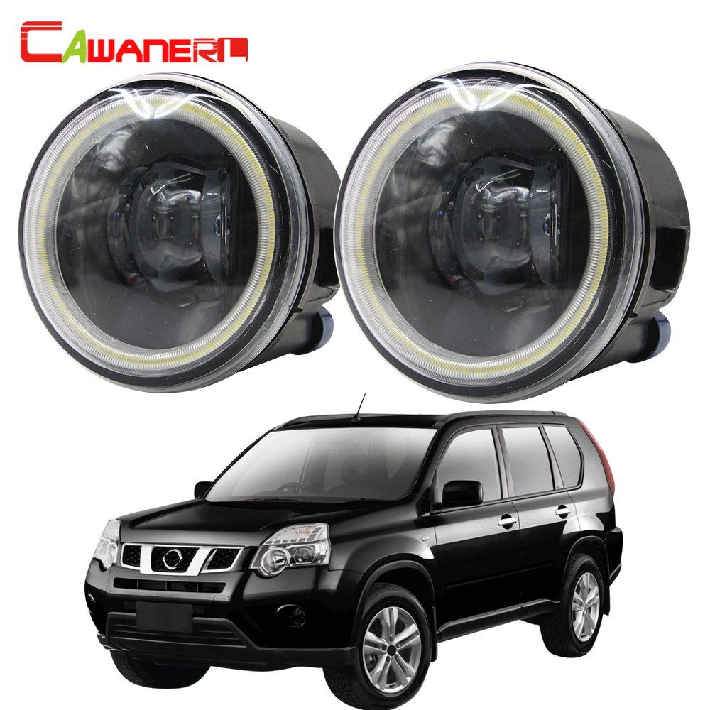 Cawanerl For Nissan X Trail T31 Car H11 4000LM LED Bulb Fog Light Angel Eye DRL