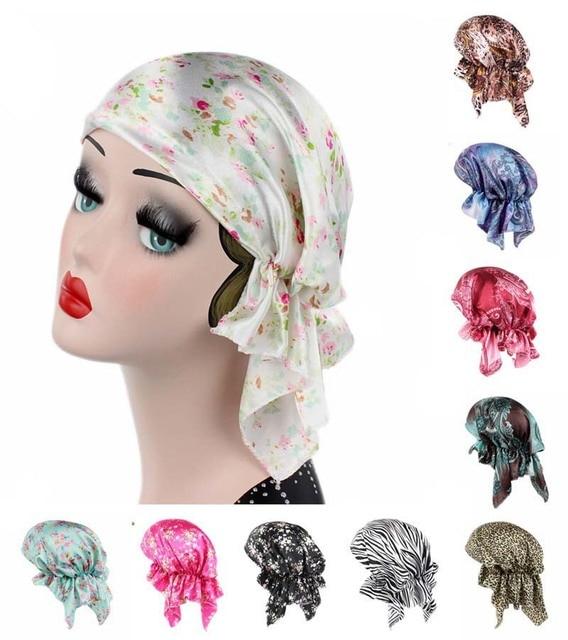 2017 Lady Satin Scarf Headband Imitation Silk Hair Loss Head Cap Cotton  Chemotherapy Cap Women Hair 7587cef37a2