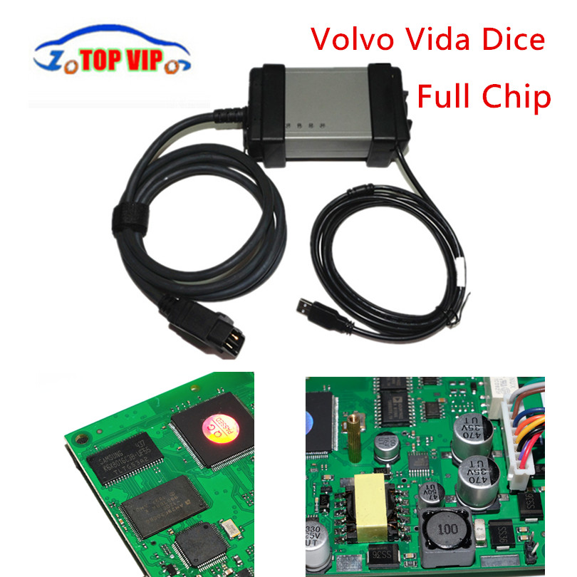 Full Chip For Vo-l--vo Vida Dice 2014D OBD2 Diagnostic Tool Multi-Language For Volvo Dice Pro Vida Dice Green Board Free Ship