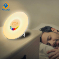 Wake Up Alarm Clock RGB LED Sunrise Simulation Clock Light Add Snooze Mode FM Radio Music