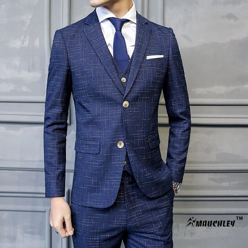 MAUCHLEY 2017 Latest Coat Pant Design 3 Piece/Set Mens Suits Korean 2...