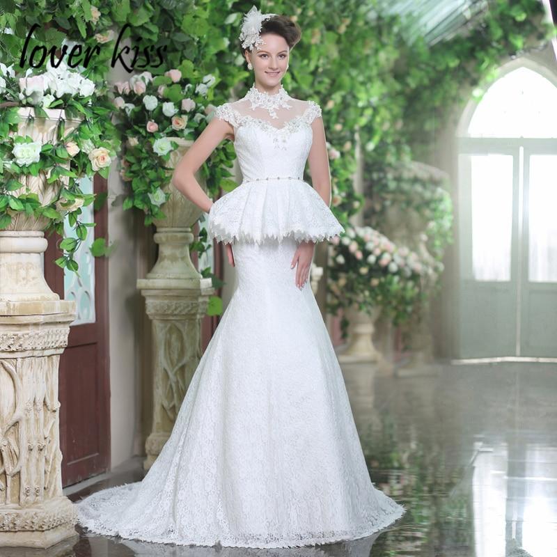 Lover Kiss Vestido De Noiva High Neck Beaded Cap Sleeve Wedding Dresses  Beach Lace Dubai Kaftan Bridal Gown robe de mariee 2018 b7b831bc673f