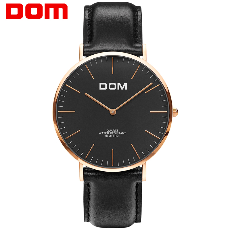Man Watch DOM Fashion Leather Quartz Hot Brand Men Watches Luxury Male Clock Business Wristwatch Reloj for Masculino M-36GL-1M dom top brand luxury fashion male wristwatch quartz leather watchband business watches waterproof watch men watch clock m 36l 7m