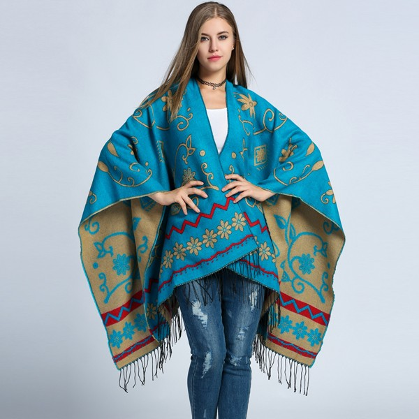New luxury FANALA Brand Color matching cashmere Tassel Poncho Autumn Winter thicker warm shawls wrap double side cape Echarpes