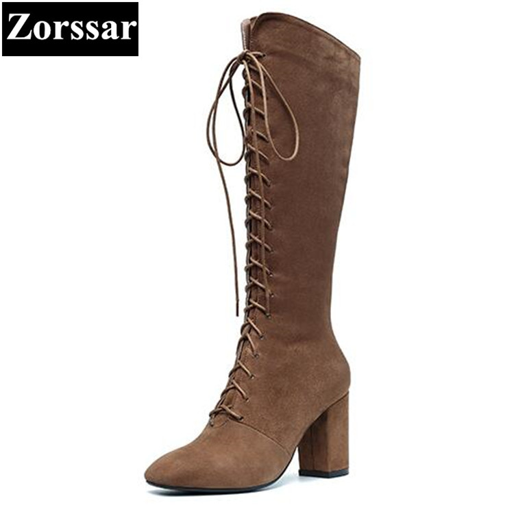 {Zorssar} 2017 NEW winter Womens shoes pointed Toe cow Suede high heels Knee-high Motorcycle boots fashion vintage women boots zorssar 2017 new winter female shoes fashion high heels pointed toe short boots suede womens ankle boots shoes women heels
