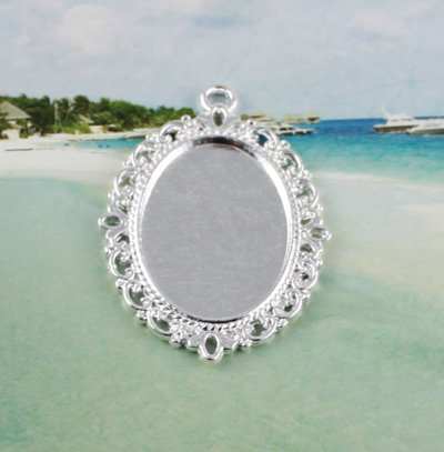 150 Silver Color plated Cabochon Settings Pendant Trays glue on bail picture frame oval charm A11665SP
