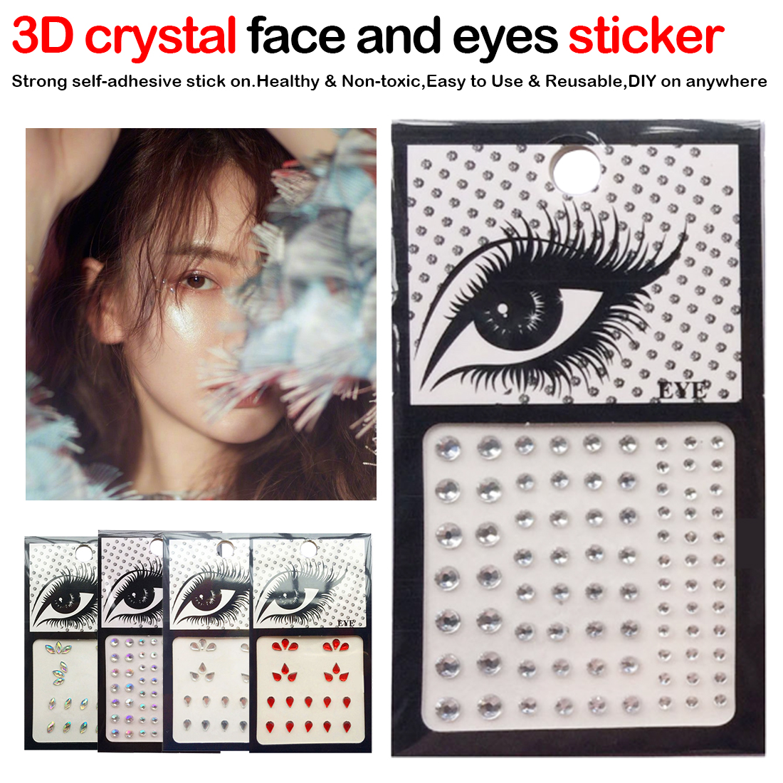 1pcs Glitter 3D DIY Eyebrow Face Body Art Sticker Crystal Glitter Jewelry Party Festival Eye Makeup Stickers
