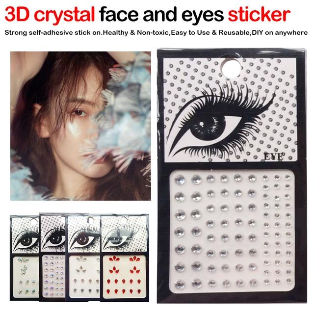 1pcs Glitter 3D DIY Eyebrow Face Body Art Sticker Crystal Glitter Jewelry Party Festival Eye Makeup Stickers
