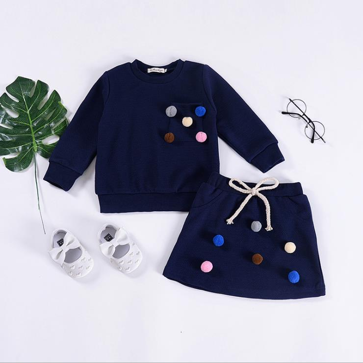 2018 New Spring Baby Girls Clothing Set 2 pcs Suit Long Sleeve Jumper Blouse Hoody+skirt 3 Colors Available Fashion Clothes