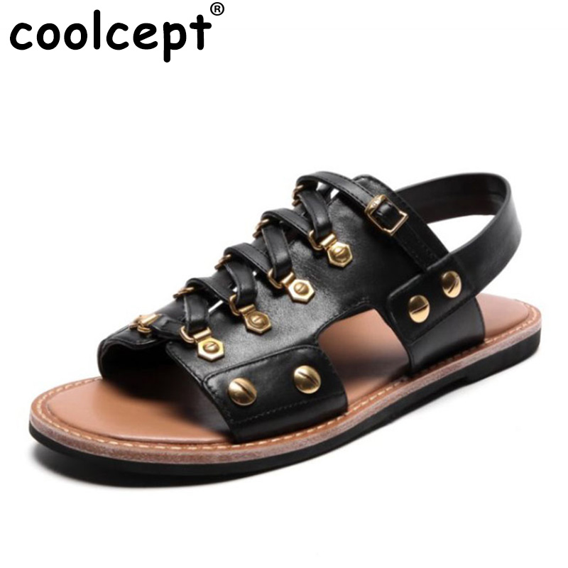 Coolcept Ladies Punk Real Leather Rivets Sandals Women Metal Solid Color Shoes Women Summer Party Club Sandals Size 34-39 dc 12v 24v 36v 48v wireless remote control switch rf remote power light switch remote on off 1ch relay receiver transmitter