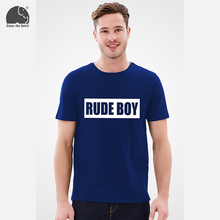 EnjoytheSpirit Male T-shirt Royal Blue Top RUDE BOY Letters Printing Fashion Younth T Shirt Boy Tee Shirt Street Top Boy Wear