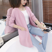 Women Sweater Long Cardigan 2017 New Fashion Spring Autumn Long Sleeve Loose Knitted Cardigan Female Sweaters Coat Y415