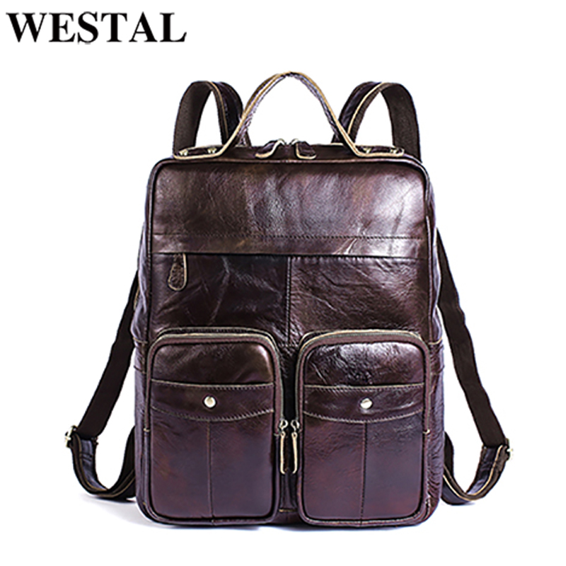 WESTAL Genuine Leather Men Backpacks casual Backpack for teenagers laptop Travel backpack Multi-functional School Bag men 8207 new gravity falls backpack casual backpacks teenagers school bag men women s student school bags travel shoulder bag laptop bags