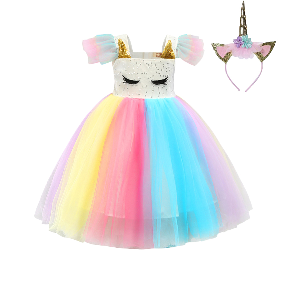 Unicorn Dress for Girls Children Girl Carnival Costume Party Dresses Birthday Gift Princess