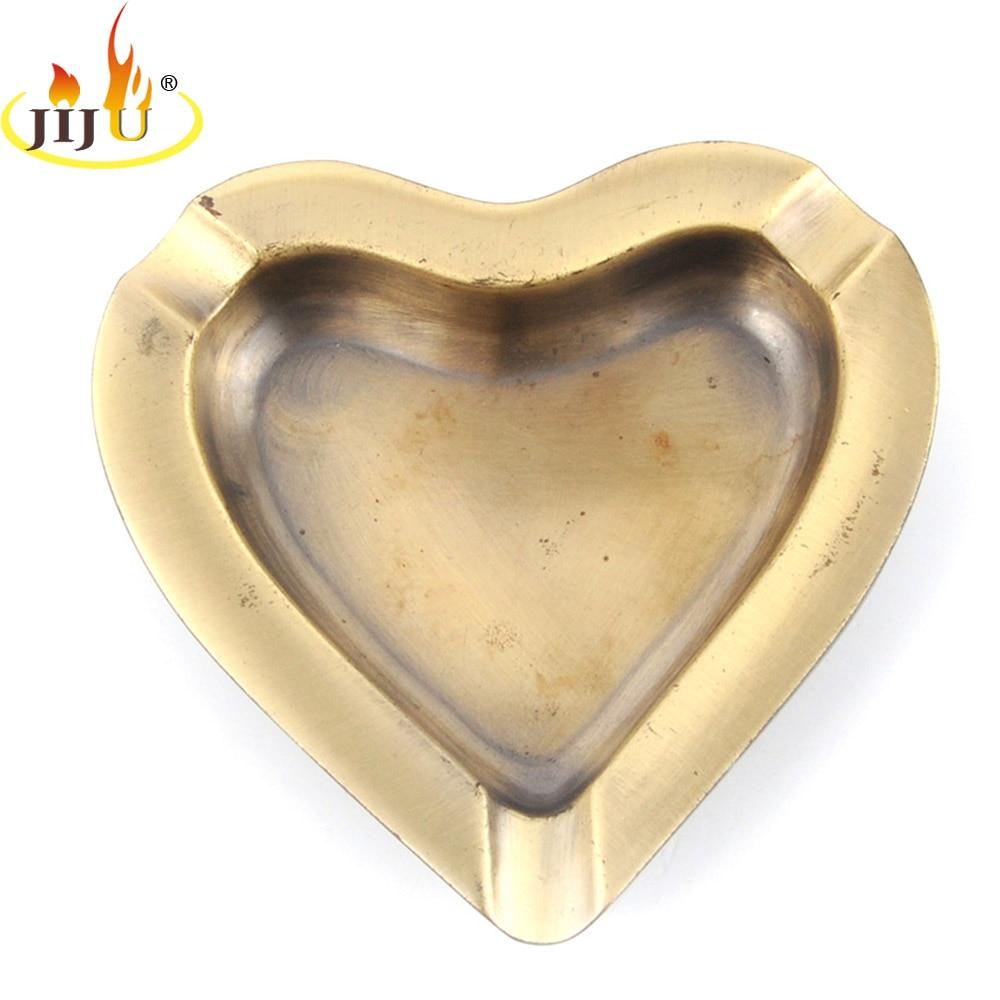 JIJU Portable Outdoor Pocket Mini Smoking Ashtray Love Heart Shape Metal Beautiful Gift For Man Women Ashtray JL-166S