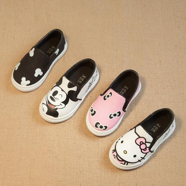 Novas crianças sapatos sapatos meninos meninas dos desenhos animados olá kitty crianças sapatas de lona respirável ocasional crianças sapatilhas meninas sapatilhas