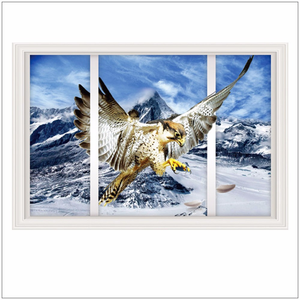 Office creative snow mountain eagle window stickers modern home iceberg landscape eagle living room bedroom decor wall sticker