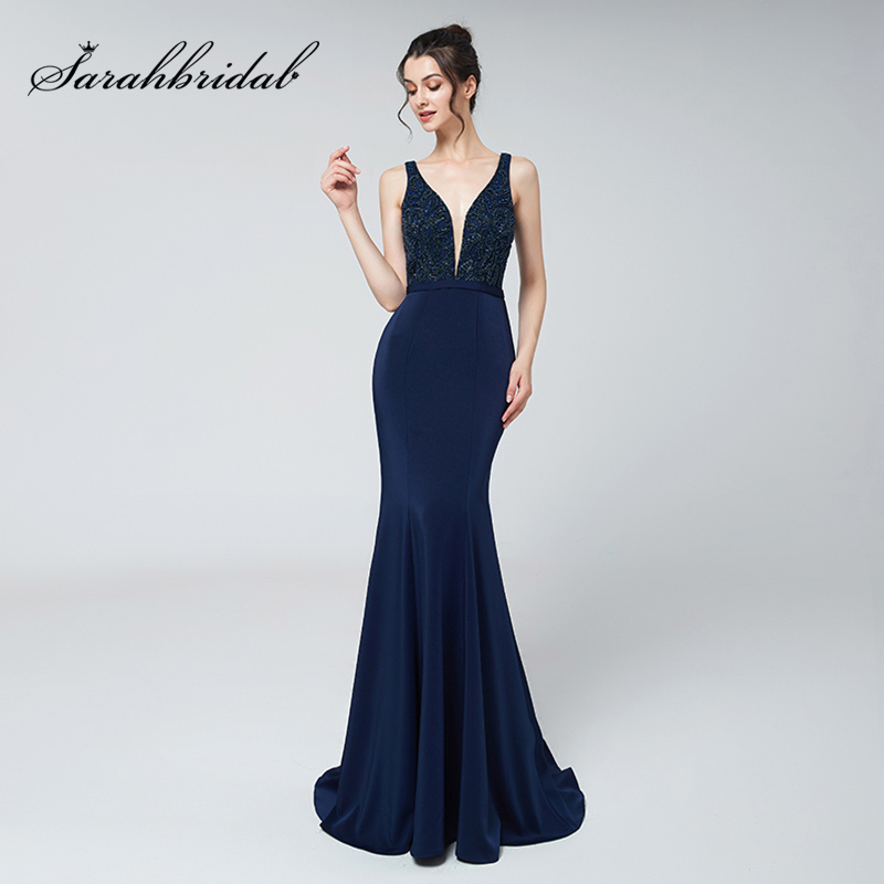 2018 Sexy V-Neck Long   Prom     Dresses   with Beading Top Satin V Back Formal Women Mermaid Evening Party Gowns Red Carpet   Dress   OL504
