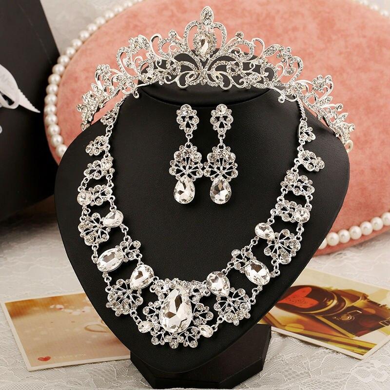 Nova Moda Magnifico Cristal Bridal conjuntos de Joias Charme Strass conjuntos de joias de Casamento Para Mulheres Acessorios Para o cabelo (5)