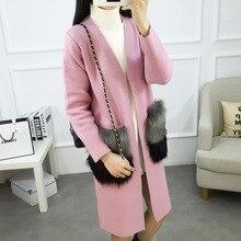 2017 Woman Winter Pink Warm Woolen coat Cheap Pink Cute Long Down Jacket White Maxi Coat Palto Faux Fur Pocket Korean Cloak Wool