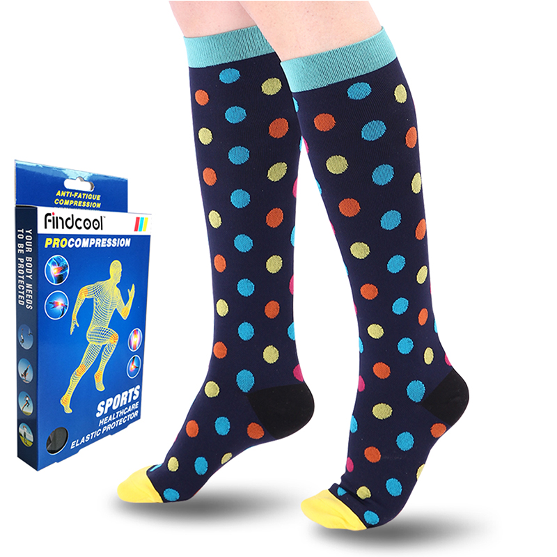 Findcool Medical Compression Socks Pressure Varicose Veins Leg Relief Pain Knee High Socks Knee Calf Support Socks for Women Men