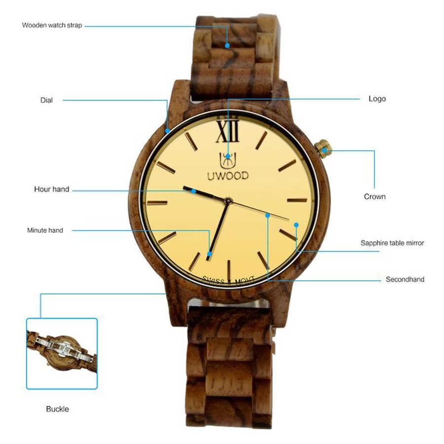 2017 Топ люксовый бренд UWOOD мужские часы деревянные часы для мужчин бамбуковые часы из сандалового дерева золотые швейцарские Move Мужские t кварцевые деревянные наручные часы