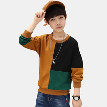 Boys Sweatshirt 2018 Autumn Long Sleeve T Shirt Winter Tops Teens Patchwork Hoodies Kids Top For Boy 12 13