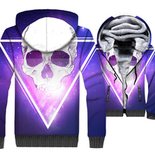 loose fit wool liner thick jackets high quality streetwear hooded hoodies 2019 winter skull 3D printed tracksuits men punk coats