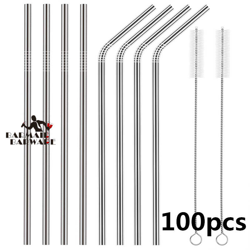 ฟาง Reusable ดื่มหลอดดูดสแตนเลส Straw 100 PCS หลอด + 10pcs แปรง