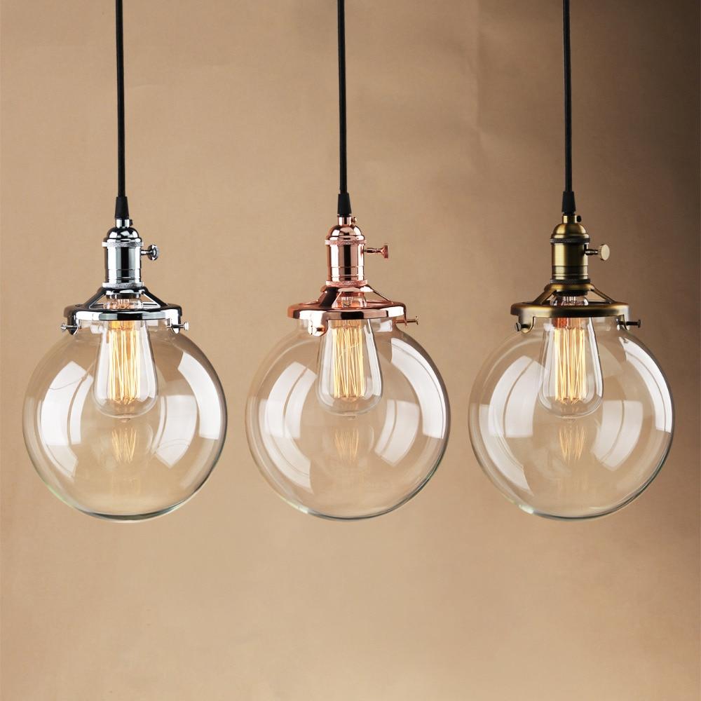 Permo Vintage Glass Globe Pendant Lights Rose Gold Pendant Ceiling Lamps Modern Hanglamp Luminaire Loft Dining Lights Fixture