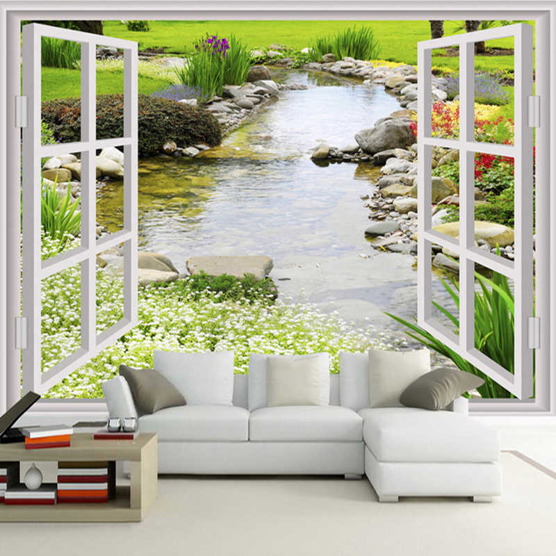 Custom Wall Mural Wallpaper Modern Simple 3D Window Garden Small River Flower Grass Fresco Living Room Bedroom Photo Wall Paper