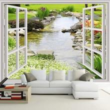 Papel de parede personalizado mural moderno 3d janela jardim pequeno rio flor grama fresco sala quarto foto papel de parede