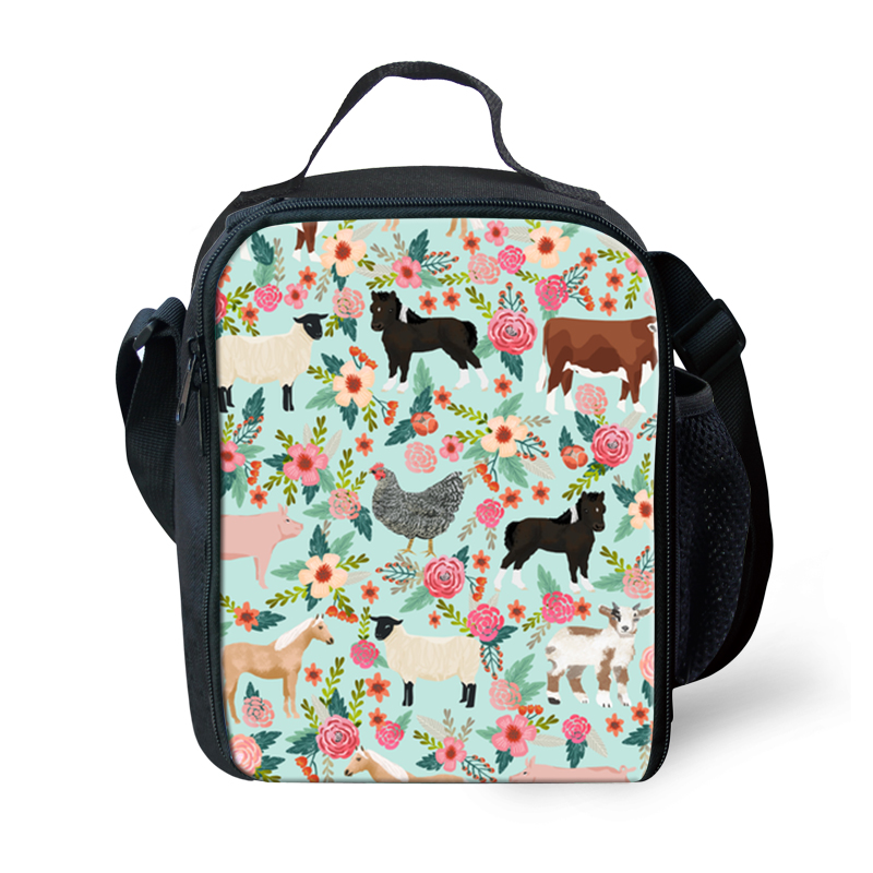 Thikin Flower Animals Cooler Lunch Box Portable Insulated Lunch Bag Tote PouchThermal Food Picnic Lunch Bags For Women Kids in Lunch Bags from Luggage Bags
