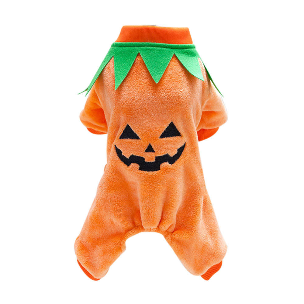 2017 S/M/L/XL/XXL/XXL Halloween Pumpkin Cool Cute Dog Pet Clothes Cosplay Costume Coral Velvet Fashion Party Clothing 40% OFF