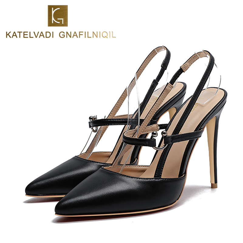 Summer Black Sandals Women High Heels Sexy Pointed Toe Ankle Strap Sandals Women Fashion Dress Shoes Woman Wedding Sandals K-117 covibesco nude high heels sandals women ankle strap summer dress shoes woman open toe sandals sexy prom wedding shoes large size